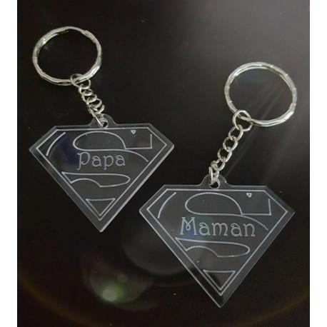 porte-clés super maman et super papa